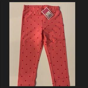 Coral polkadot leggings